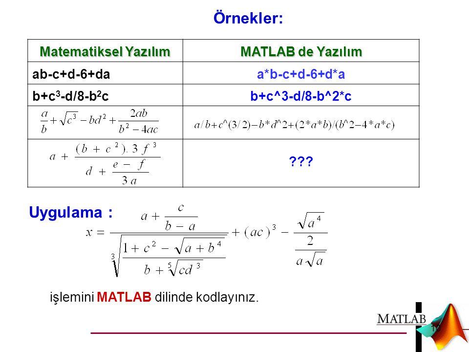 Matematiksel Yazılım MATLAB de Yazılım ab-c+d-6+daa*b-c+d-6+d*a b+c 3 -d/8-b 2 cb+c^3-d/8-b^2*c ??? Örnekler: Uygulama : işlemini MATLAB dilinde kodla
