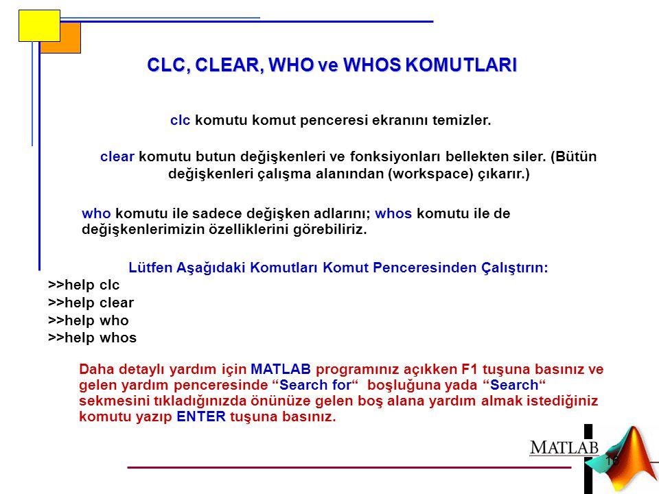 CLC, CLEAR, WHO ve WHOS KOMUTLARI clc komutu komut penceresi ekranını temizler. clear komutu butun değişkenleri ve fonksiyonları bellekten siler. (Büt