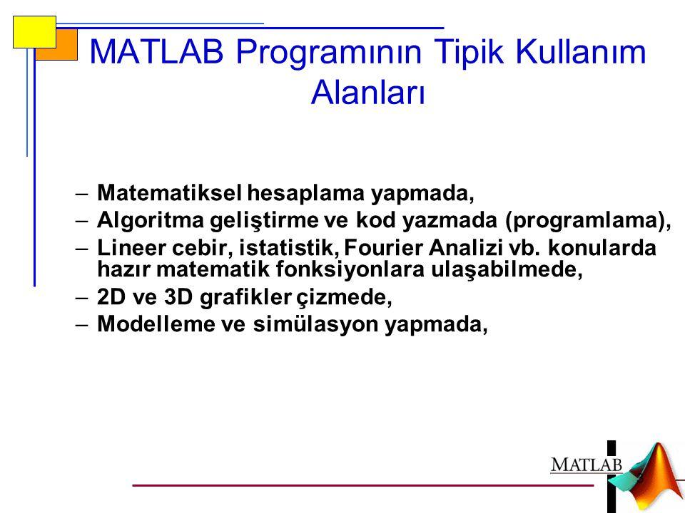 MATLAB Programının Tipik Kullanım Alanları –Matematiksel hesaplama yapmada, –Algoritma geliştirme ve kod yazmada (programlama), –Lineer cebir, istatis