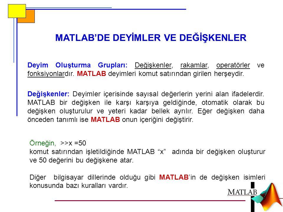 """MATLAB'DE DEYİMLER VE DEĞİŞKENLER Örneğin, >>x =50 komut satırından işletildiğinde MATLAB """"x"""" adında bir değişken oluşturur ve 50 değerini bu değişken"""