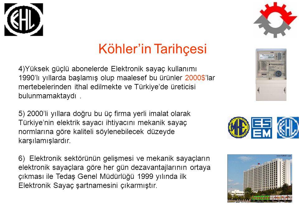 Köhler'in Tarihçesi 7) Tedaş 2001 yılı mayıs ayında 6 ay sonrası için yani 8 Aralık 2001 tarihinden sonra yeni abonelerde mekanik sayacın kullanımını Türkiye çapında yasaklamış ve bu karar mekanik sayaç üretimi yapan üç firma için son derece zor bir süreç olmuştur.