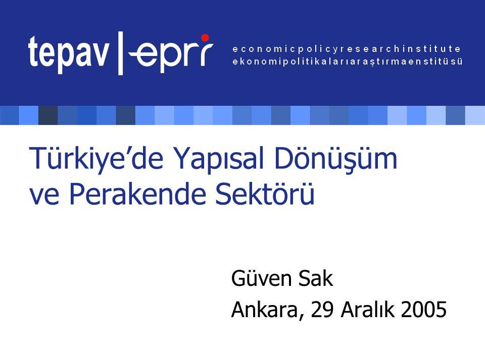 Türkiye'de Yapısal Dönüşüm ve Perakende Sektörü Güven Sak Ankara, 29 Aralık 2005