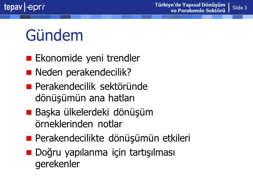 Türkiye'de Yapısal Dönüşüm ve Perakende Sektörü Slide 3 Gündem  Ekonomide yeni trendler  Neden perakendecilik?  Perakendecilik sektöründe dönüşümün
