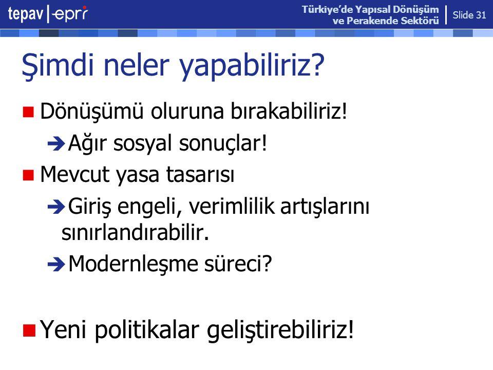 Türkiye'de Yapısal Dönüşüm ve Perakende Sektörü Slide 31 Şimdi neler yapabiliriz?  Dönüşümü oluruna bırakabiliriz!  Ağır sosyal sonuçlar!  Mevcut y