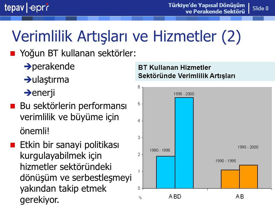 Türkiye'de Yapısal Dönüşüm ve Perakende Sektörü Slide 8 Verimlilik Artışları ve Hizmetler (2) BT Kullanan Hizmetler Sektöründe Verimlilik Artışları 