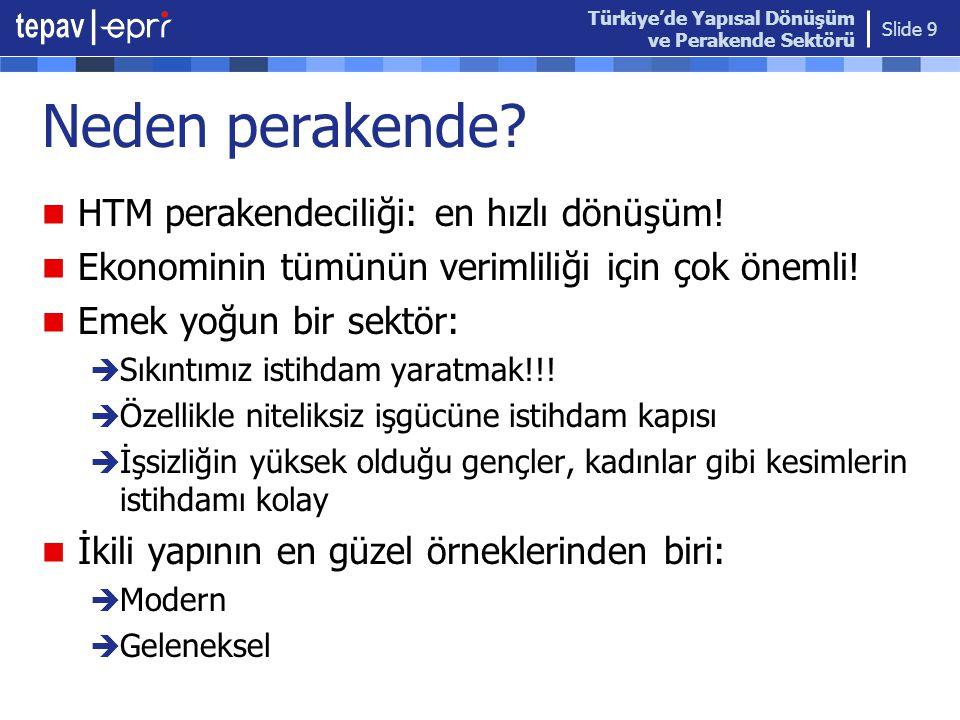 Türkiye'de Yapısal Dönüşüm ve Perakende Sektörü Slide 9 Neden perakende?  HTM perakendeciliği: en hızlı dönüşüm!  Ekonominin tümünün verimliliği içi