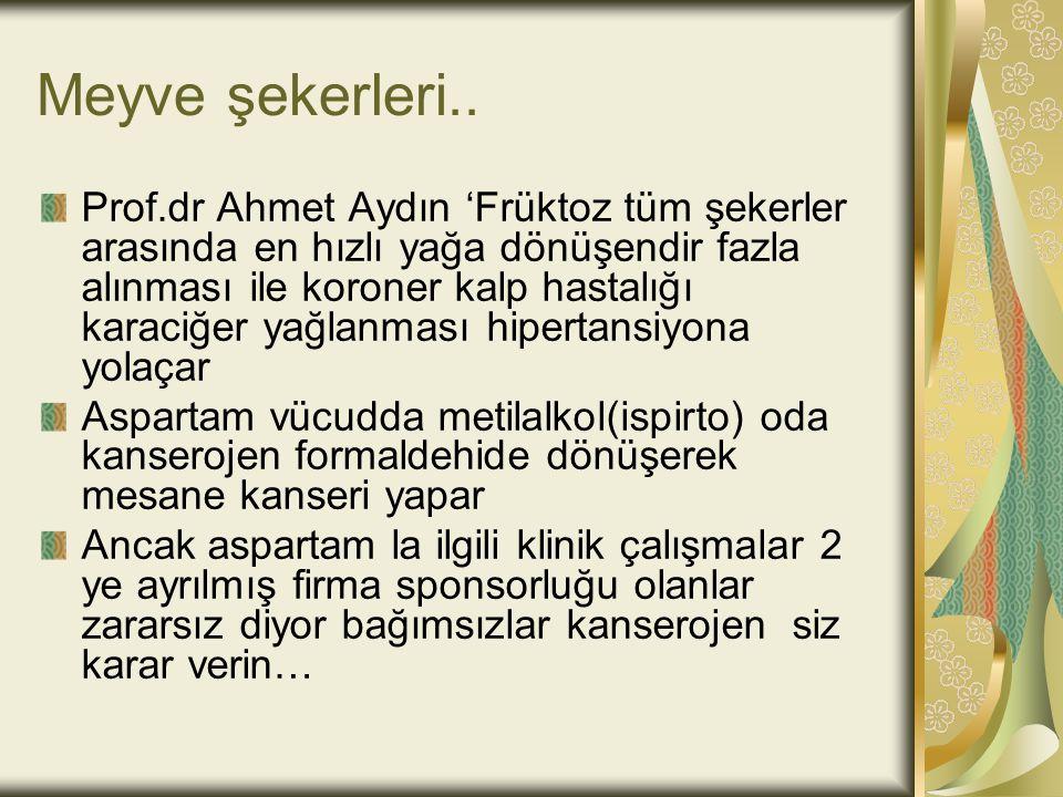 Meyve şekerleri.. Prof.dr Ahmet Aydın 'Früktoz tüm şekerler arasında en hızlı yağa dönüşendir fazla alınması ile koroner kalp hastalığı karaciğer yağl