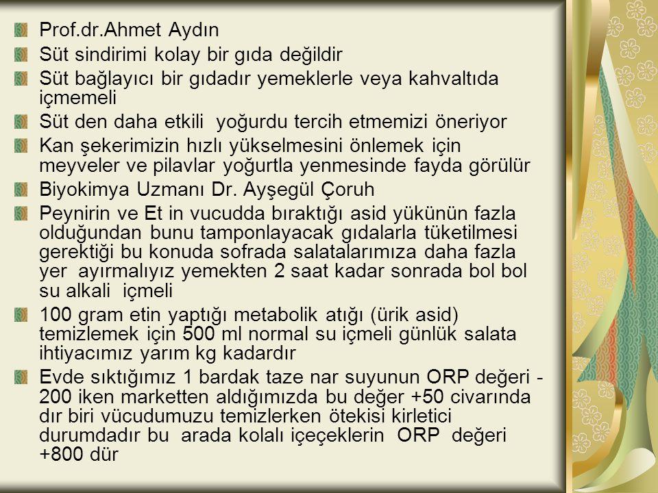 Prof.dr.Ahmet Aydın Süt sindirimi kolay bir gıda değildir Süt bağlayıcı bir gıdadır yemeklerle veya kahvaltıda içmemeli Süt den daha etkili yoğurdu te