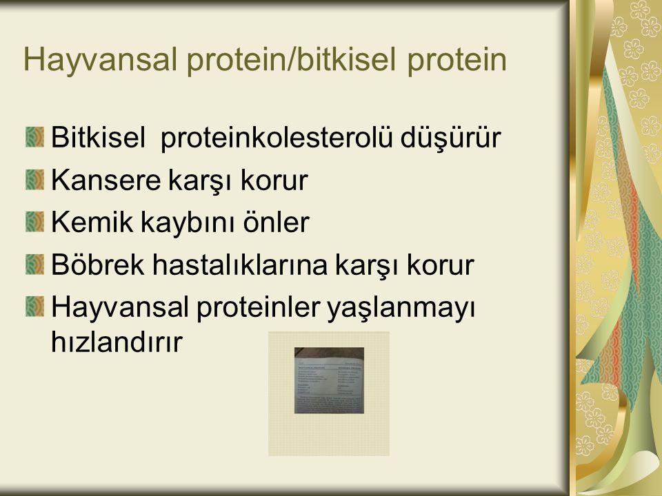 Hayvansal protein/bitkisel protein Bitkisel proteinkolesterolü düşürür Kansere karşı korur Kemik kaybını önler Böbrek hastalıklarına karşı korur Hayva