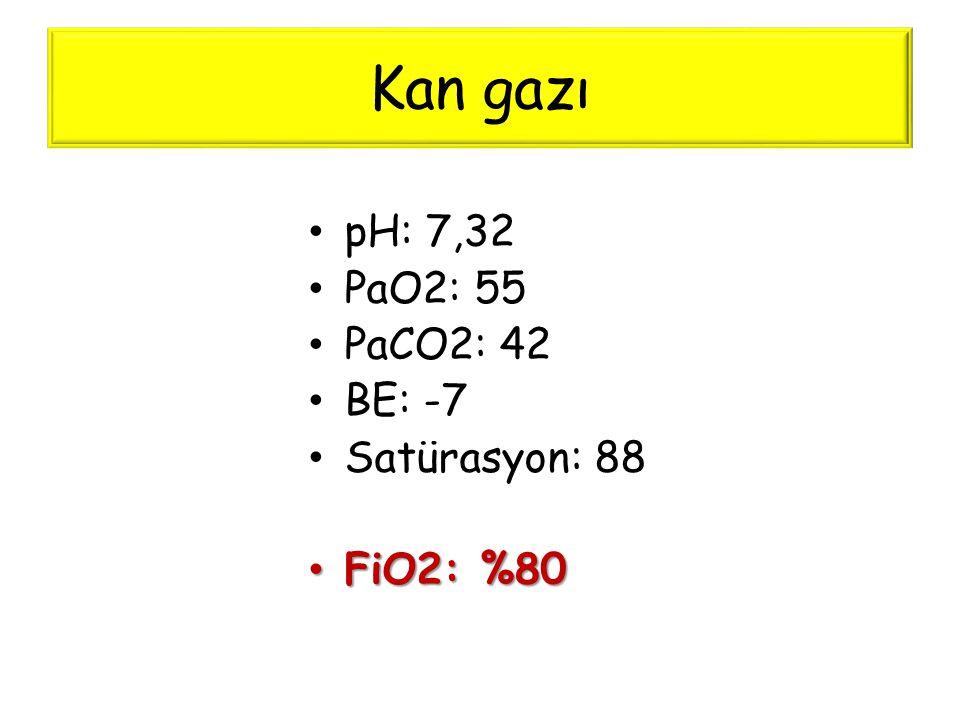 Kan gazı • pH: 7,32 • PaO2: 55 • PaCO2: 42 • BE: -7 • Satürasyon: 88 • FiO2: %80