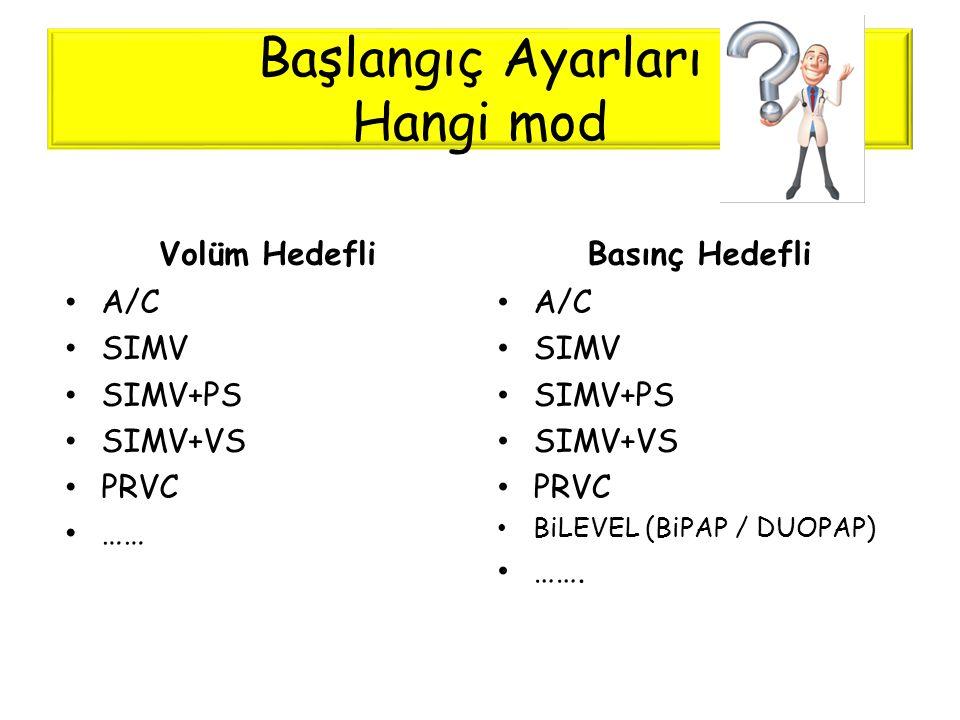 Başlangıç Ayarları Hangi mod Volüm Hedefli • A/C • SIMV • SIMV+PS • SIMV+VS • PRVC • …… Basınç Hedefli • A/C • SIMV • SIMV+PS • SIMV+VS • PRVC • BiLEV