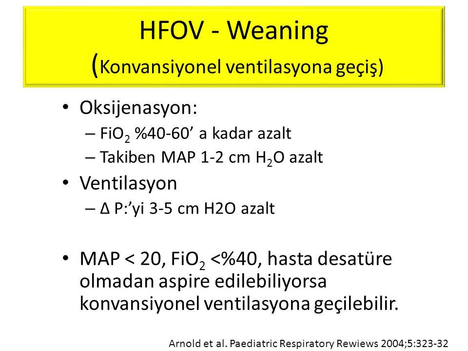 HFOV - Weaning ( Konvansiyonel ventilasyona geçiş) • Oksijenasyon: – FiO 2 %40-60' a kadar azalt – Takiben MAP 1-2 cm H 2 O azalt • Ventilasyon – Δ P: