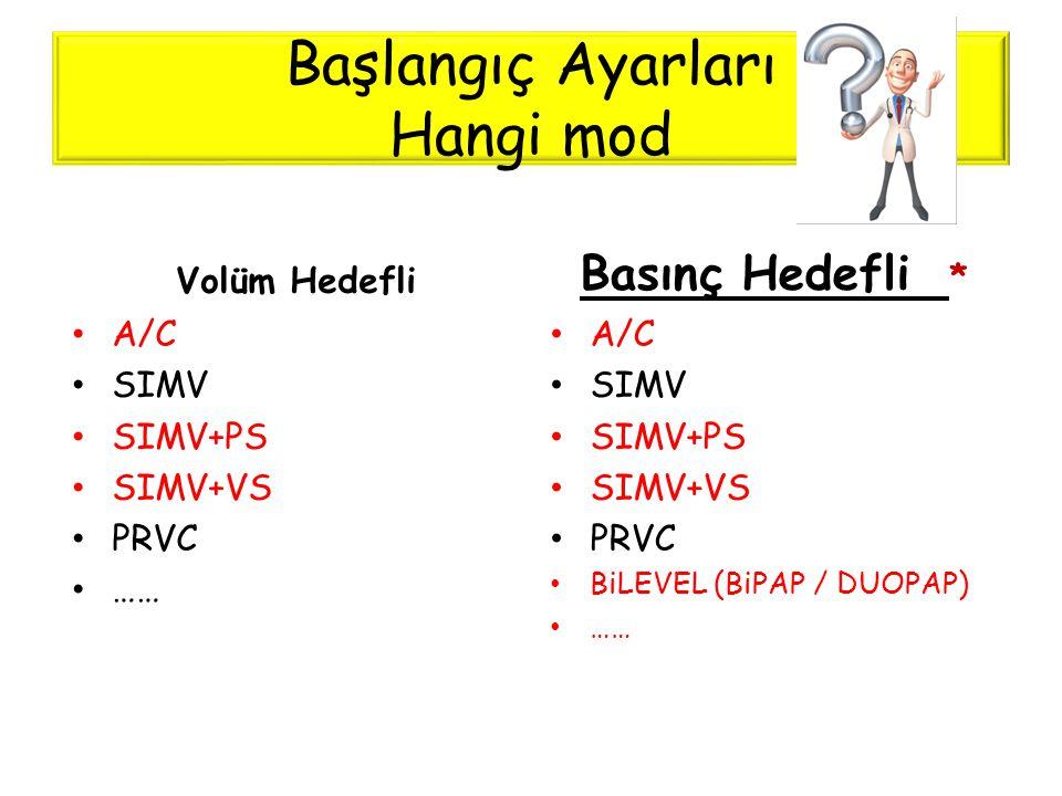 Başlangıç Ayarları Hangi mod Volüm Hedefli • A/C • SIMV • SIMV+PS • SIMV+VS • PRVC • …… Basınç Hedefli * • A/C • SIMV • SIMV+PS • SIMV+VS • PRVC • BiL
