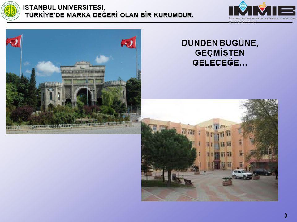 3 ISTANBUL UNIVERSITESI, TÜRKİYE'DE MARKA DEĞERİ OLAN BİR KURUMDUR.