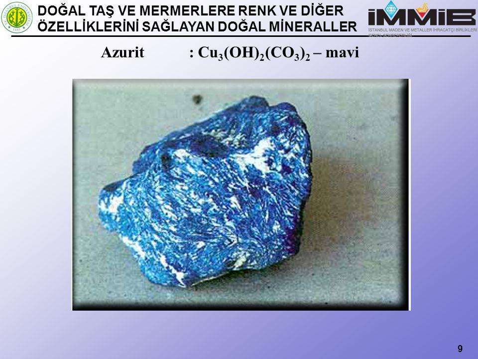 9 Azurit : Cu 3 (OH) 2 (CO 3 ) 2 – mavi DOĞAL TAŞ VE MERMERLERE RENK VE DİĞER ÖZELLİKLERİNİ SAĞLAYAN DOĞAL MİNERALLER