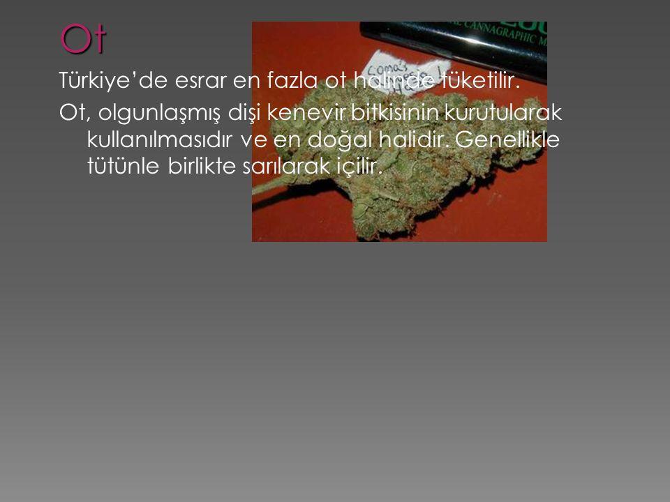 Ot Türkiye'de esrar en fazla ot halinde tüketilir. Ot, olgunlaşmış dişi kenevir bitkisinin kurutularak kullanılmasıdır ve en doğal halidir. Genellikle