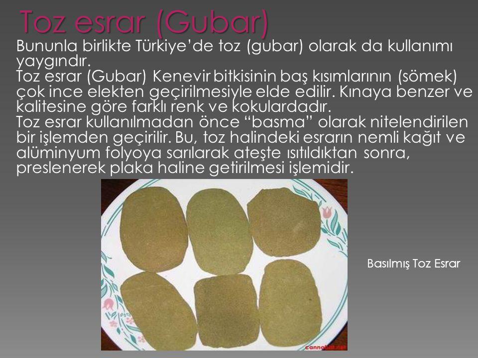 Basılmış Toz Esrar Toz esrar (Gubar) Bununla birlikte Türkiye'de toz (gubar) olarak da kullanımı yaygındır. Toz esrar (Gubar) Kenevir bitkisinin baş k