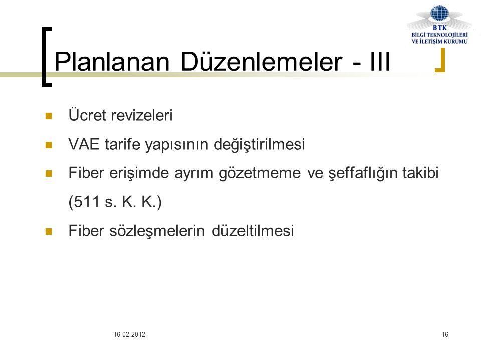 16.02.201216  Ücret revizeleri  VAE tarife yapısının değiştirilmesi  Fiber erişimde ayrım gözetmeme ve şeffaflığın takibi (511 s. K. K.)  Fiber sö