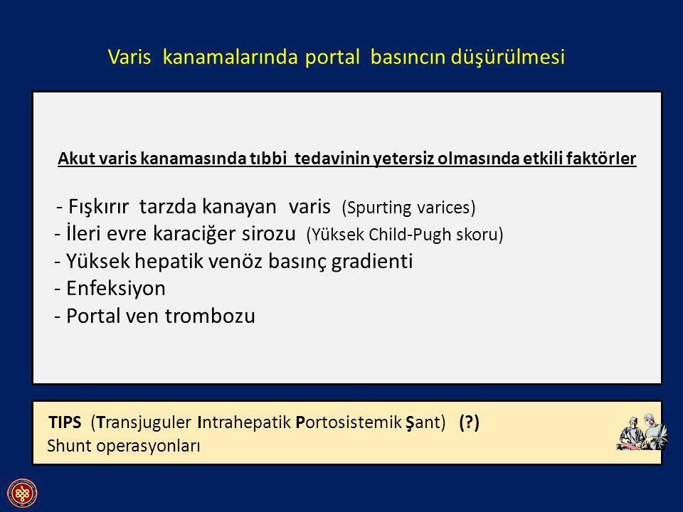 Farmakolojik ajanlar - Vazopressin (0.4-0.6U/dk iv infüzyon) - Vazopressin + Nitrogliserin ( 40-100micg/dk iv infüzyon veya 30-60dk da bir dil altı 0.