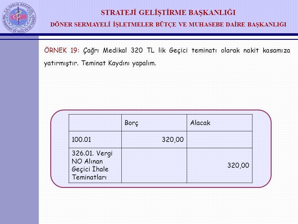 STRATEJİ GELİŞTİRME BAŞKANLIĞI DÖNER SERMAYELİ İŞLETMELER BÜTÇE VE MUHASEBE DAİRE BAŞKANLIĞI ÖRNEK 18: A Medikal 5.500 TL lik Banka teminatı olarak ha