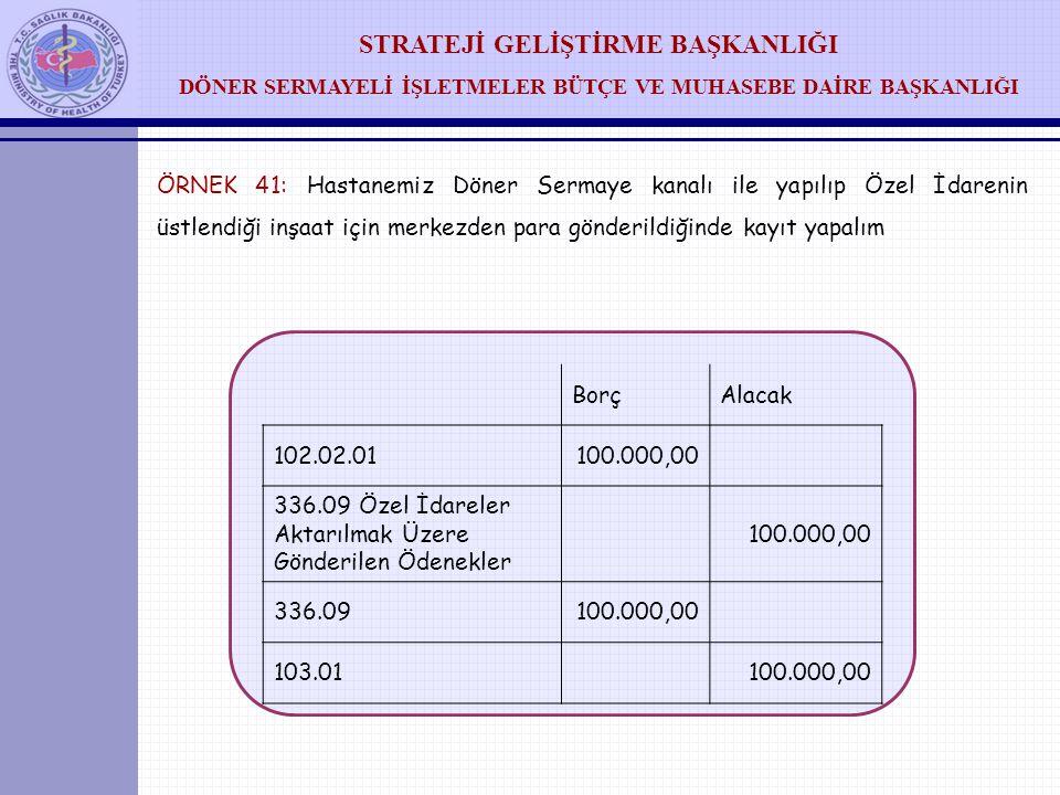 STRATEJİ GELİŞTİRME BAŞKANLIĞI DÖNER SERMAYELİ İŞLETMELER BÜTÇE VE MUHASEBE DAİRE BAŞKANLIĞI ÖRNEK 40: S.B. Merkez paydan firma ve vergi ödemeleri içi