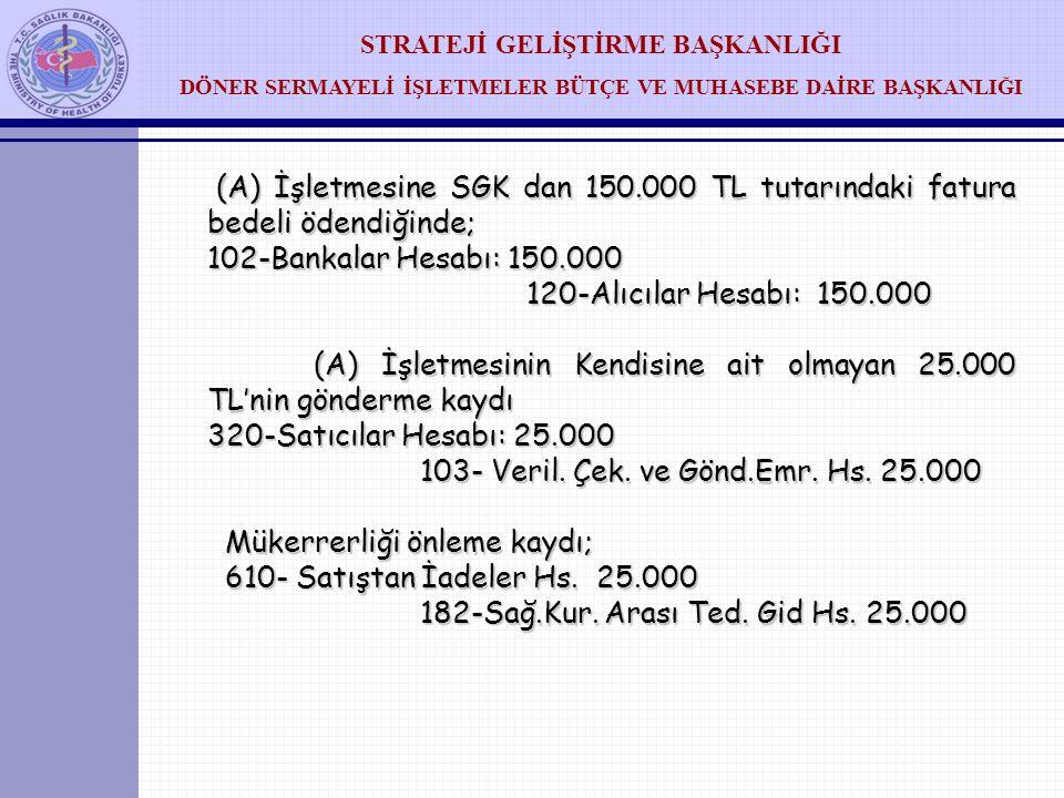 STRATEJİ GELİŞTİRME BAŞKANLIĞI DÖNER SERMAYELİ İŞLETMELER BÜTÇE VE MUHASEBE DAİRE BAŞKANLIĞI (B) İşletmesinin kayıtları: ( B) İşletmesinin (A) devlet