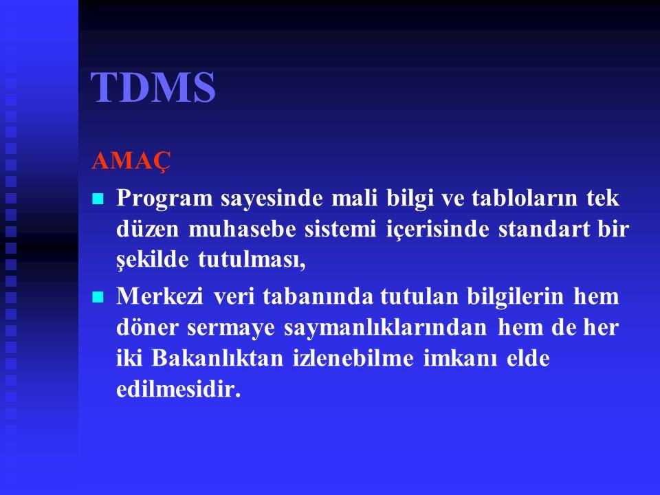 TDMS Neden TDMS? T.B.M.M adına denetim yapan Sayıştay Denetçilerinin 2002 Mali Yılı hesaplarına ilişkin hazırlanan rapor un da;   İşletmelerin mali