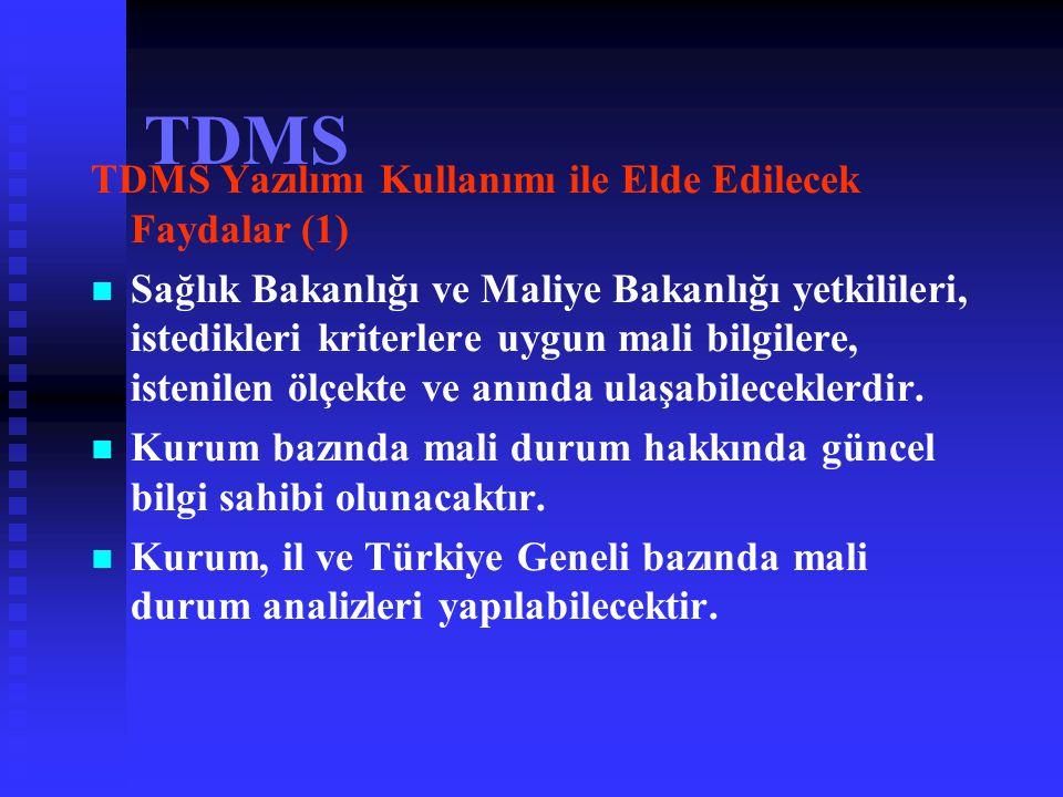 TDMS HEDEFLER   Tek düzen muhasebe kayıt ve bilgilerinin standart bir yazılımla tutulması,   Tüm döner sermaye saymanlıklarınca standart bir hesap