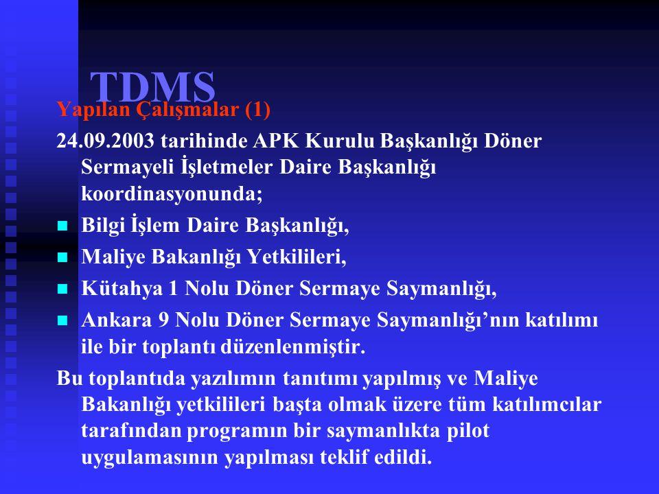 TDMS TDMS Yazılımı Kullanımı ile Elde Edilecek Faydalar (4)   Gelirlerin hangi kalemlerde yoğunlaştığı, hangi kalemlerde artış ve azalışlar gösterdi