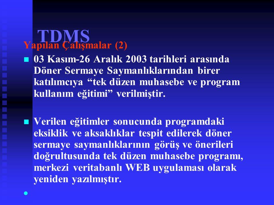 TDMS Yapılan Çalışmalar (1) 24.09.2003 tarihinde APK Kurulu Başkanlığı Döner Sermayeli İşletmeler Daire Başkanlığı koordinasyonunda;   Bilgi İşlem D