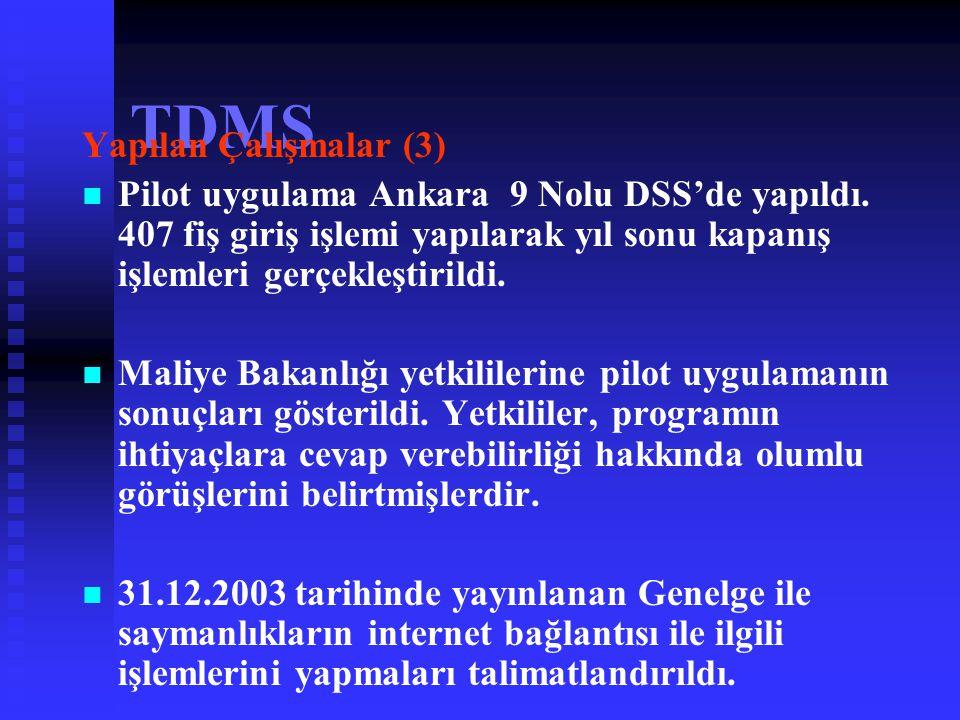"""TDMS Yapılan Çalışmalar (2)   03 Kasım-26 Aralık 2003 tarihleri arasında Döner Sermaye Saymanlıklarından birer katılımcıya """"tek düzen muhasebe ve pr"""