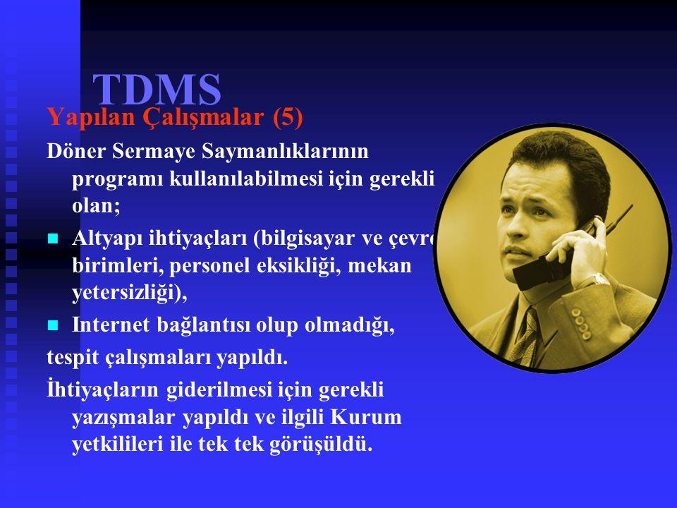 TDMS Yapılan Çalışmalar (4)   Program, 03.03.2004 tarihinden itibaren www.saglik.gov.tr/tdms adresinden kullanıma açıldı.   Döner Sermaye Saymanlı