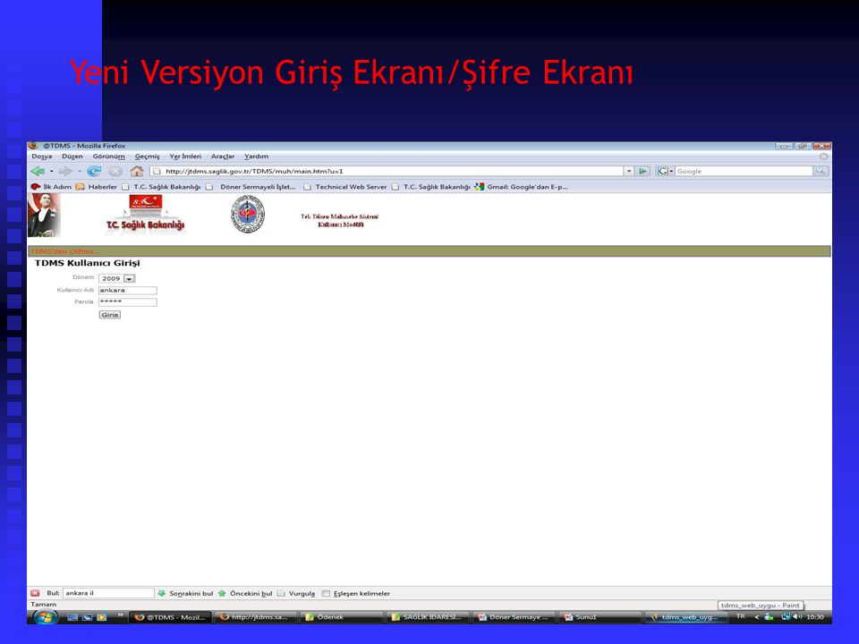 Yeni Versiyon Giriş Ekranı/TDMS Ana Sayfa