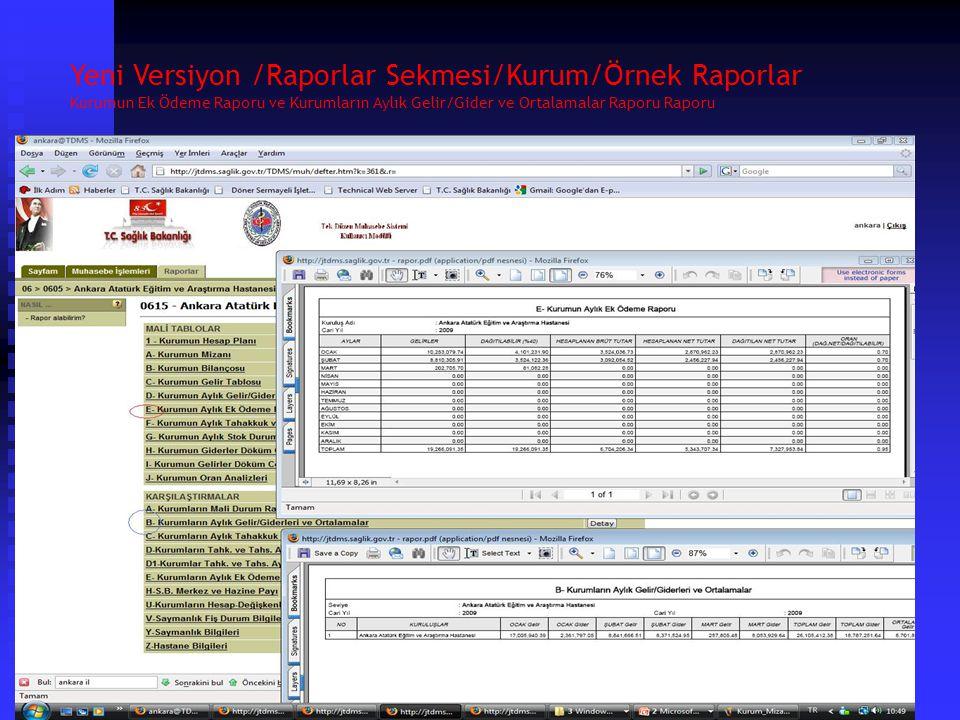 Yeni Versiyon /Raporlar Sekmesi/Kurum/Örnek Raporlar Mizan ve Kurumların Mali Durum Raporu