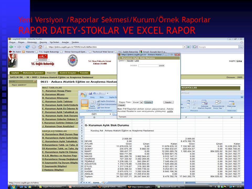 Yeni Versiyon /Raporlar Sekmesi/Kurum/Örnek Raporlar Kurumun Ek Ödeme Raporu ve Kurumların Aylık Gelir/Gider ve Ortalamalar Raporu Raporu