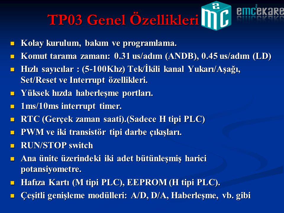  Kolay kurulum, bakım ve programlama.  Komut tarama zamanı: 0.31 us/adım (ANDB), 0.45 us/adım (LD)  Hızlı sayıcılar : (5-100Khz) Tek/İkili kanal Yu