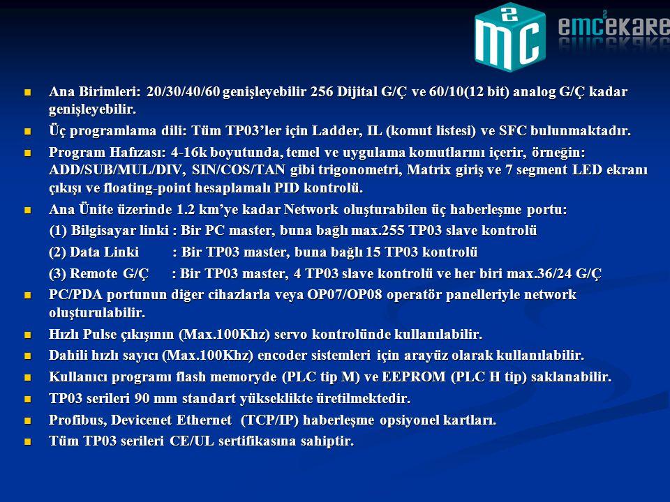  Ana Birimleri: 20/30/40/60 genişleyebilir 256 Dijital G/Ç ve 60/10(12 bit) analog G/Ç kadar genişleyebilir.  Üç programlama dili: Tüm TP03'ler için
