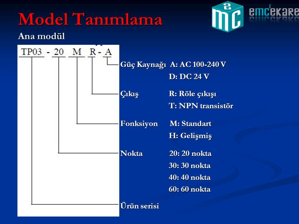 Genişletme modülü G/Ç tipiD: 24 Vdc giriş R: Röle çıkışı T: NPN transistör Modül TipiM: 24 DC G/Ç eşit X: 24 DC hepsi giriş Y: 24 DC hepsi çıkış Ek modül Nokta16=16 nokta 32=32 nokta Ürün serisi