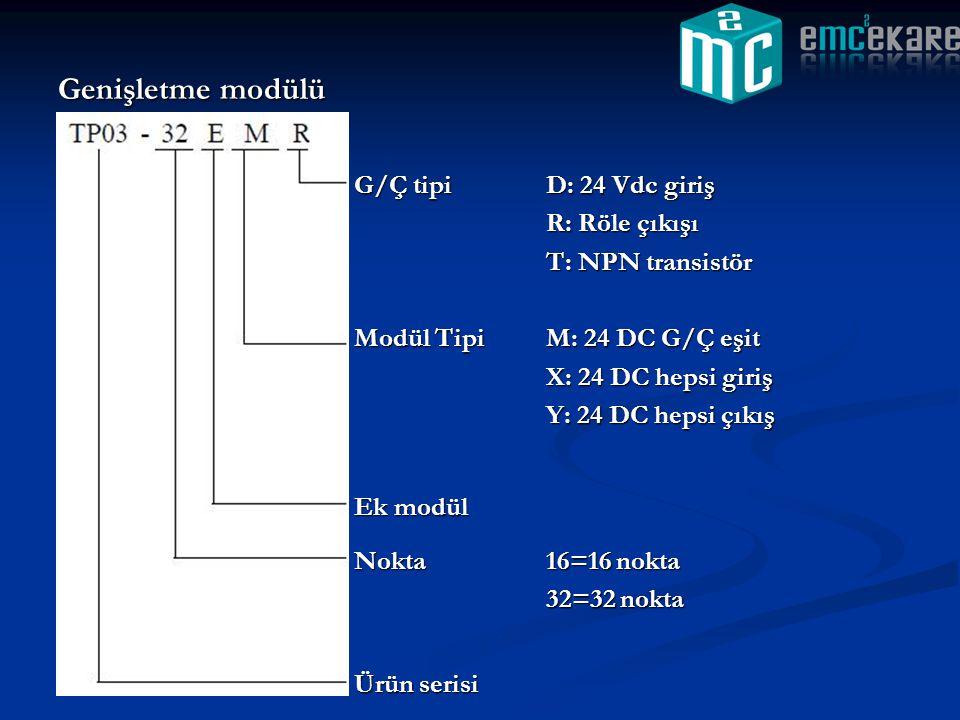 Genişletme modülü G/Ç tipiD: 24 Vdc giriş R: Röle çıkışı T: NPN transistör Modül TipiM: 24 DC G/Ç eşit X: 24 DC hepsi giriş Y: 24 DC hepsi çıkış Ek mo