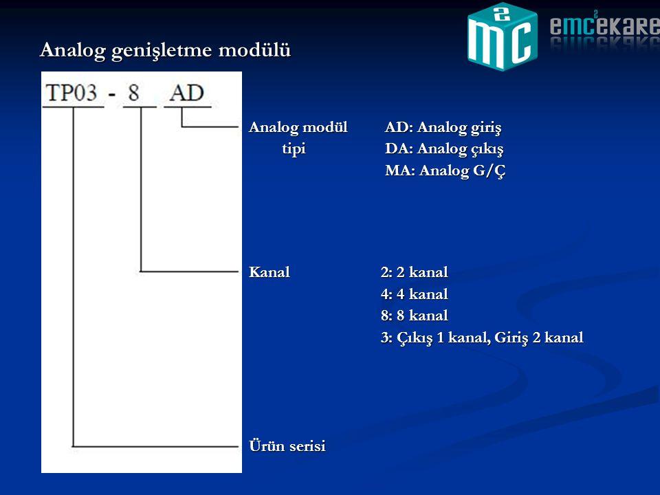 Analog genişletme modülü Analog modül AD: Analog giriş tipi DA: Analog çıkış MA: Analog G/Ç Kanal2: 2 kanal 4: 4 kanal 8: 8 kanal 3: Çıkış 1 kanal, Gi