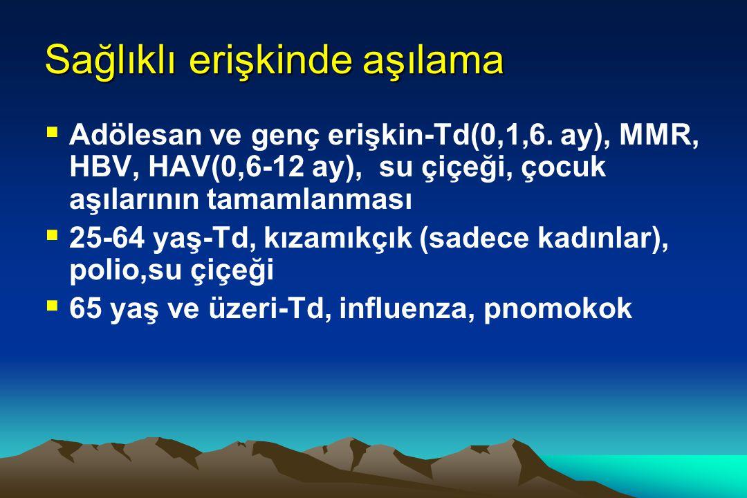 Sağlıklı erişkinde aşılama  Adölesan ve genç erişkin-Td(0,1,6. ay), MMR, HBV, HAV(0,6-12 ay), su çiçeği, çocuk aşılarının tamamlanması  25-64 yaş-Td
