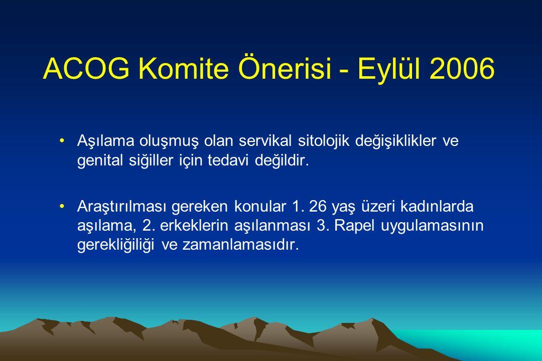 ACOG Komite Önerisi - Eylül 2006 •Aşılama oluşmuş olan servikal sitolojik değişiklikler ve genital siğiller için tedavi değildir. •Araştırılması gerek