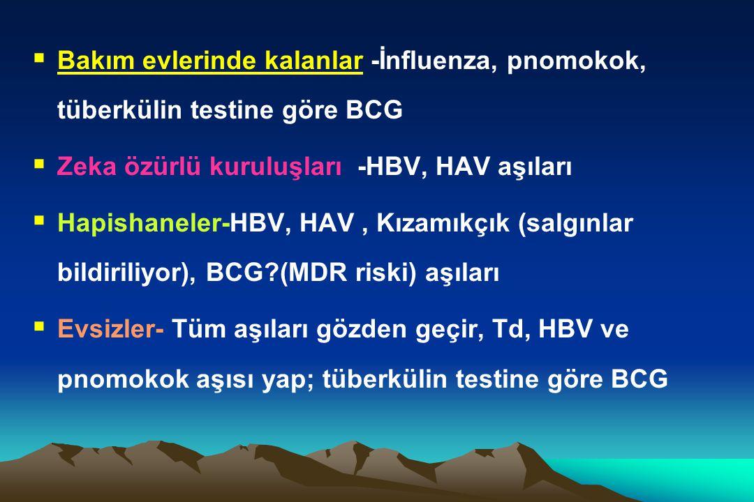  Bakım evlerinde kalanlar -İnfluenza, pnomokok, tüberkülin testine göre BCG  Zeka özürlü kuruluşları -HBV, HAV aşıları  Hapishaneler-HBV, HAV, Kıza