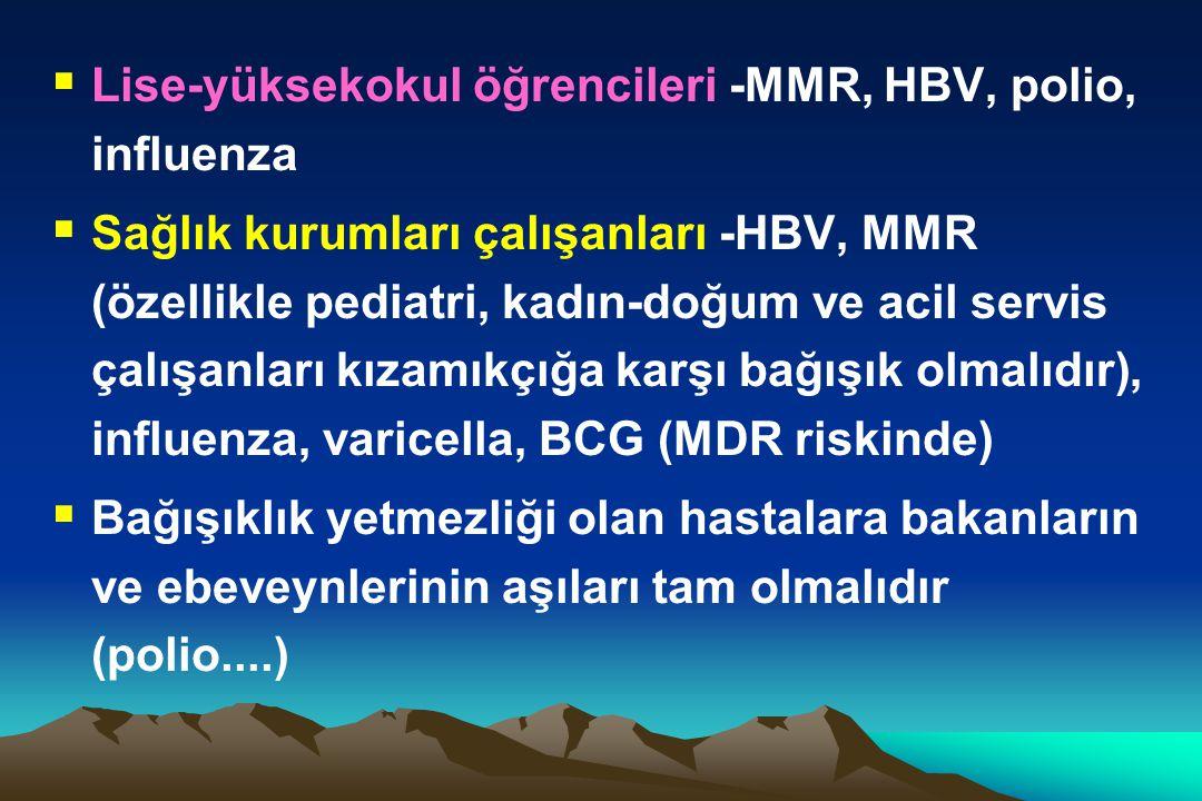  Lise-yüksekokul öğrencileri -MMR, HBV, polio, influenza  Sağlık kurumları çalışanları -HBV, MMR (özellikle pediatri, kadın-doğum ve acil servis çal