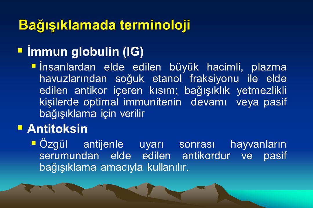 Bağışıklamada terminoloji  İmmun globulin (IG)  İnsanlardan elde edilen büyük hacimli, plazma havuzlarından soğuk etanol fraksiyonu ile elde edilen