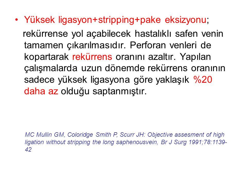 •Yüksek ligasyon+stripping+pake eksizyonu; rekürrense yol açabilecek hastalıklı safen venin tamamen çıkarılmasıdır. Perforan venleri de kopartarak rek