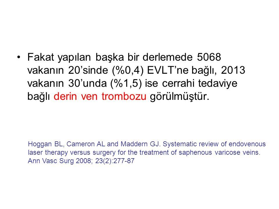 •Fakat yapılan başka bir derlemede 5068 vakanın 20'sinde (%0,4) EVLT'ne bağlı, 2013 vakanın 30'unda (%1,5) ise cerrahi tedaviye bağlı derin ven trombo