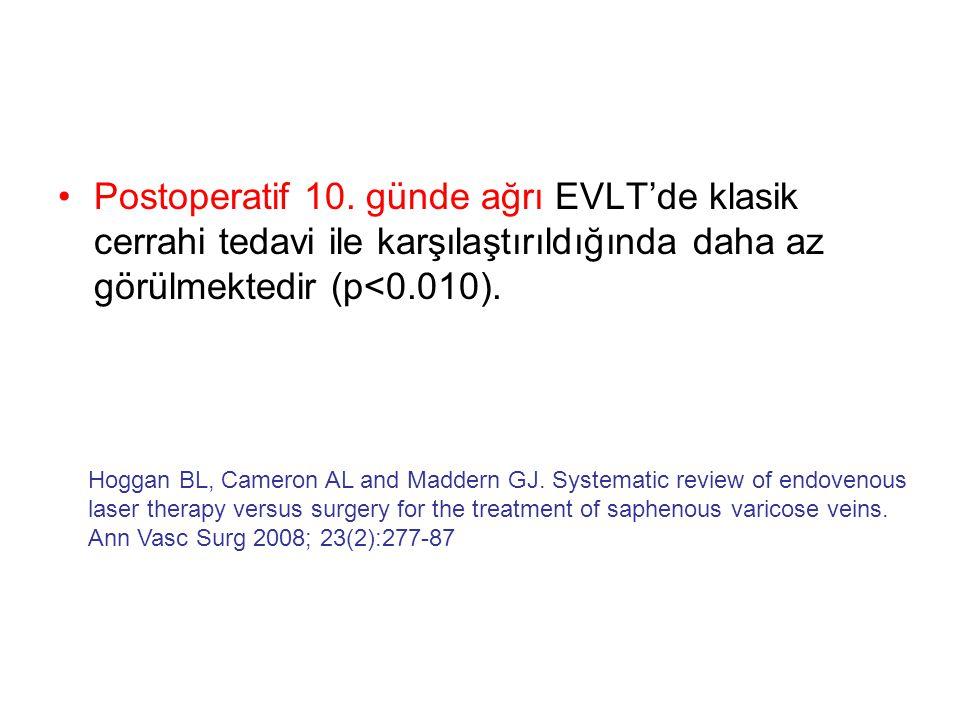 •Postoperatif 10. günde ağrı EVLT'de klasik cerrahi tedavi ile karşılaştırıldığında daha az görülmektedir (p<0.010). Hoggan BL, Cameron AL and Maddern