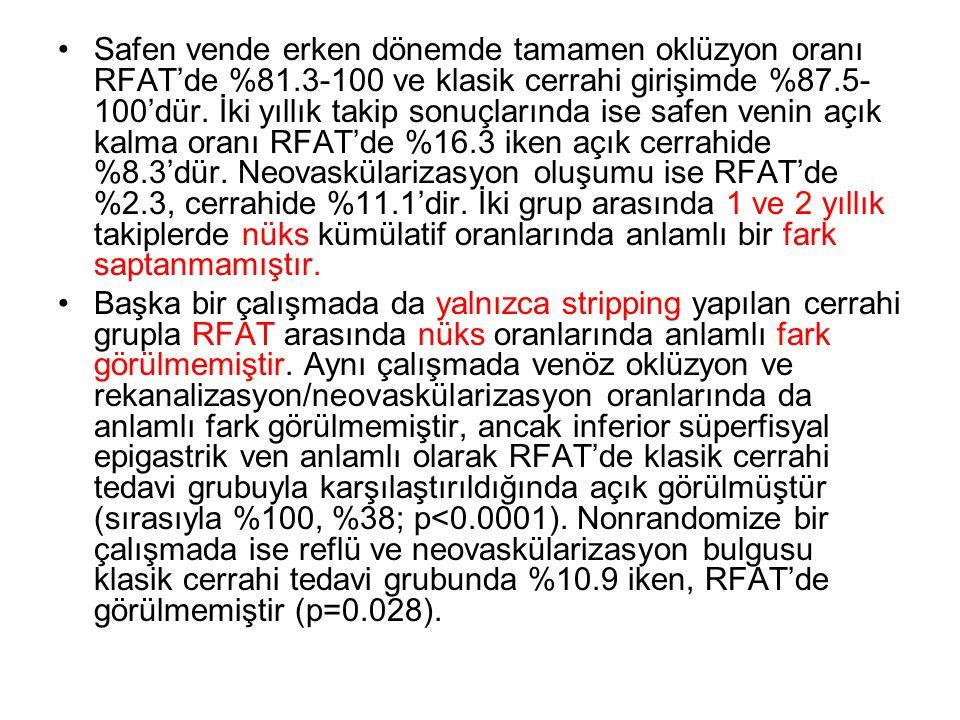 •Safen vende erken dönemde tamamen oklüzyon oranı RFAT'de %81.3-100 ve klasik cerrahi girişimde %87.5- 100'dür. İki yıllık takip sonuçlarında ise safe