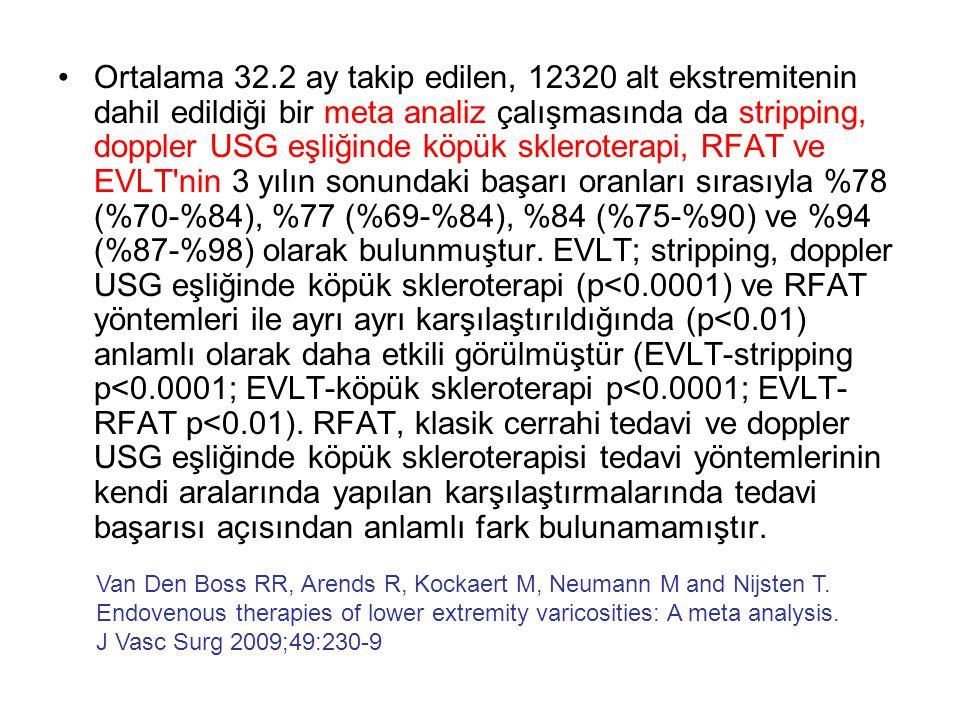 •Ortalama 32.2 ay takip edilen, 12320 alt ekstremitenin dahil edildiği bir meta analiz çalışmasında da stripping, doppler USG eşliğinde köpük sklerote